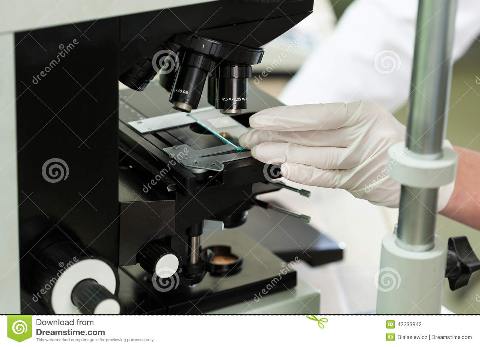 Używać mikroskop w mikrobiologii laboratorium zdjęcie stock obraz