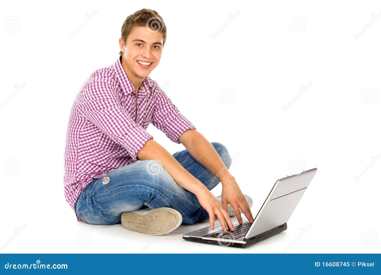 Używać potomstwa laptopu mężczyzna