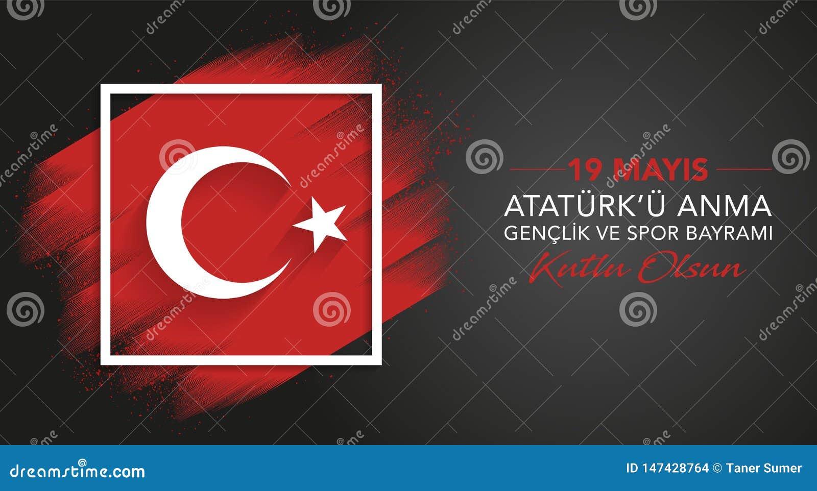 19 u Anma Genclik ve Spor Bayrami, 19 van Mayis Ataturk ?kan Herdenking van Ataturk, de Jeugd en Sportendag, grafisch bannerontwe