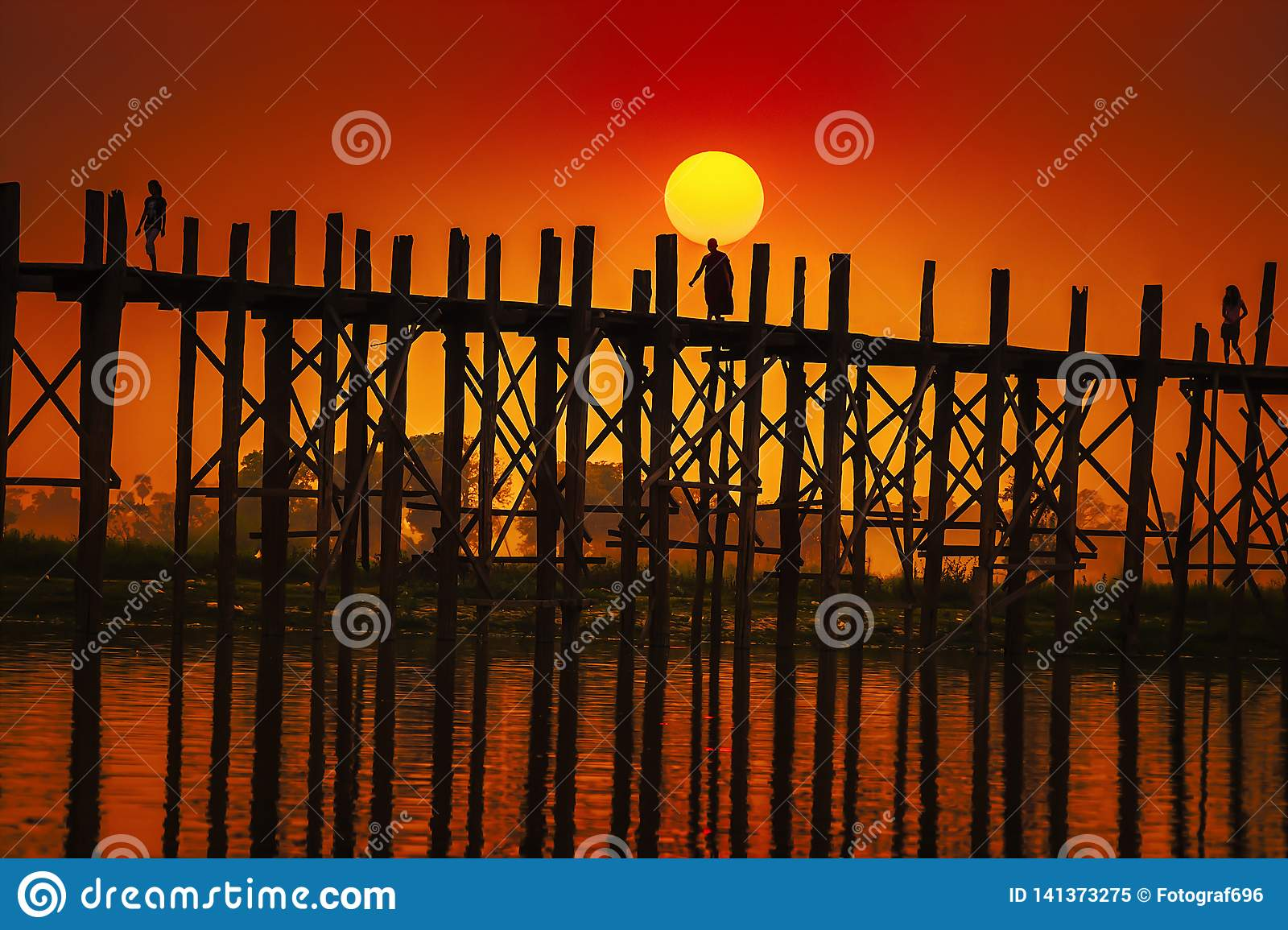 U Bein Bridge Mandalay in Myanmar.