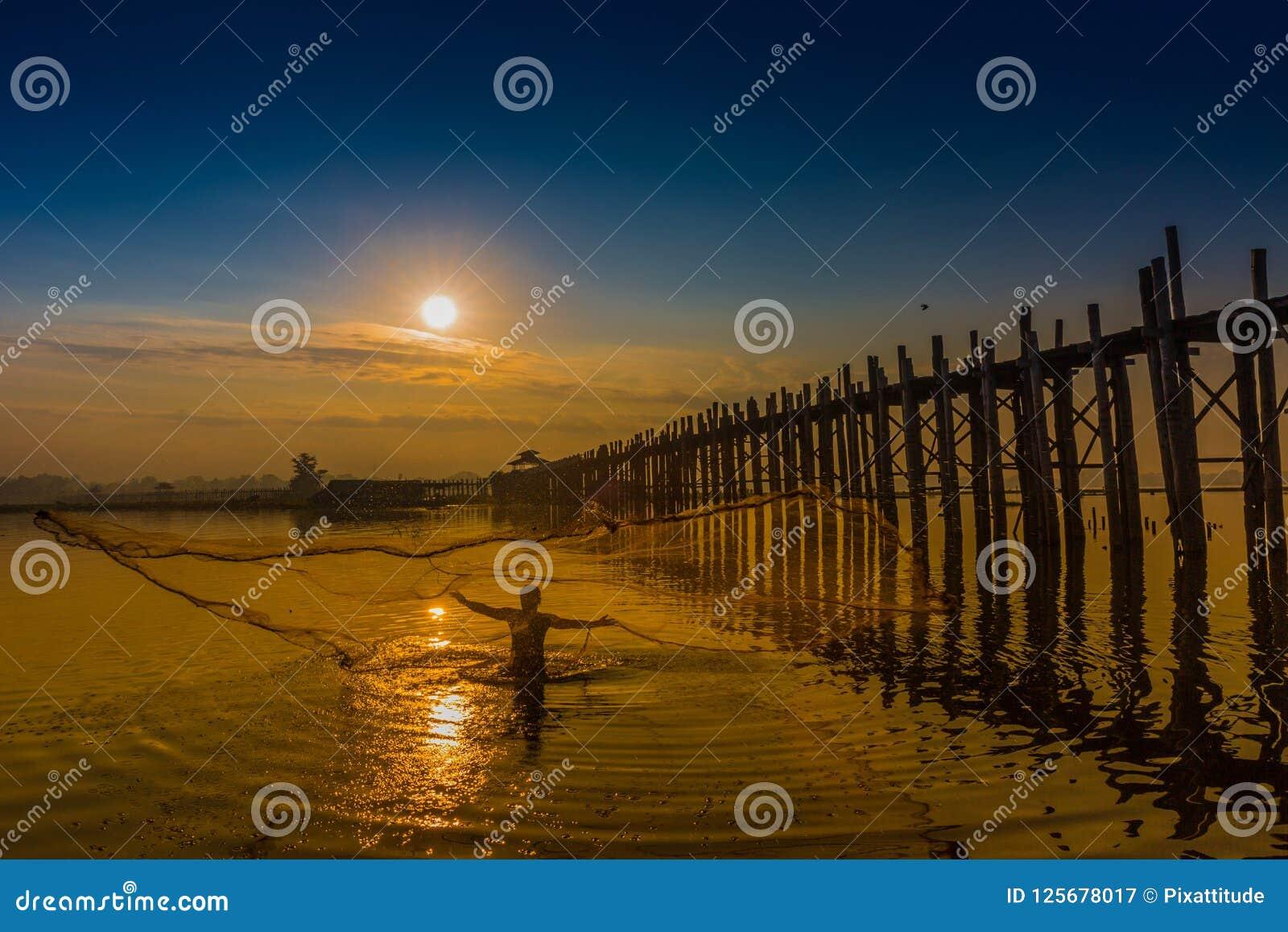 U Bein Bridge Taungthaman Lake Amarapura Myanmar