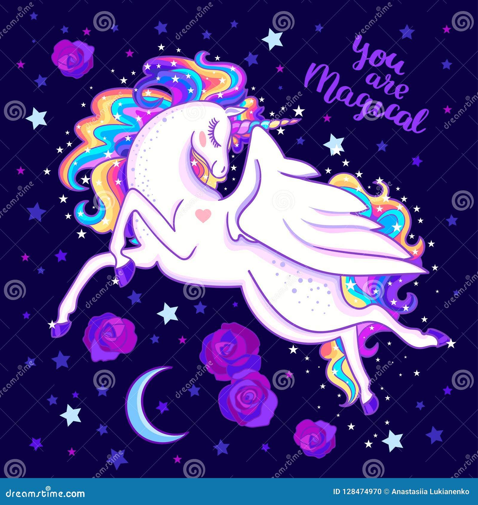 U bent magisch Mooie regenboogeenhoorn onder de sterren en de rozen Vector