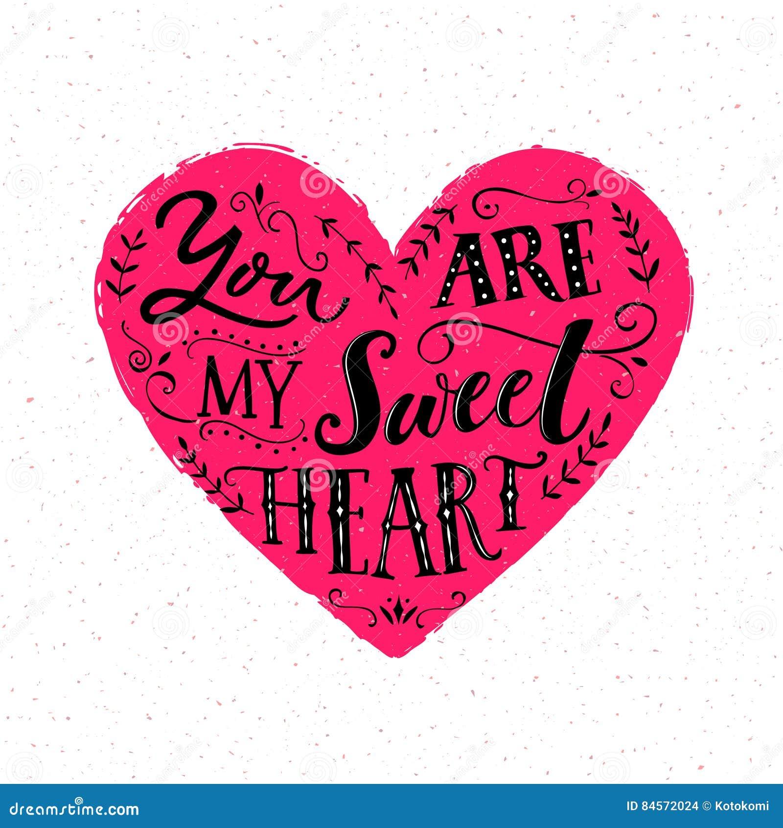 U bent Mijn Liefje Het ontwerp van de de Dagkaart van Valentine ` s Moderne typografie