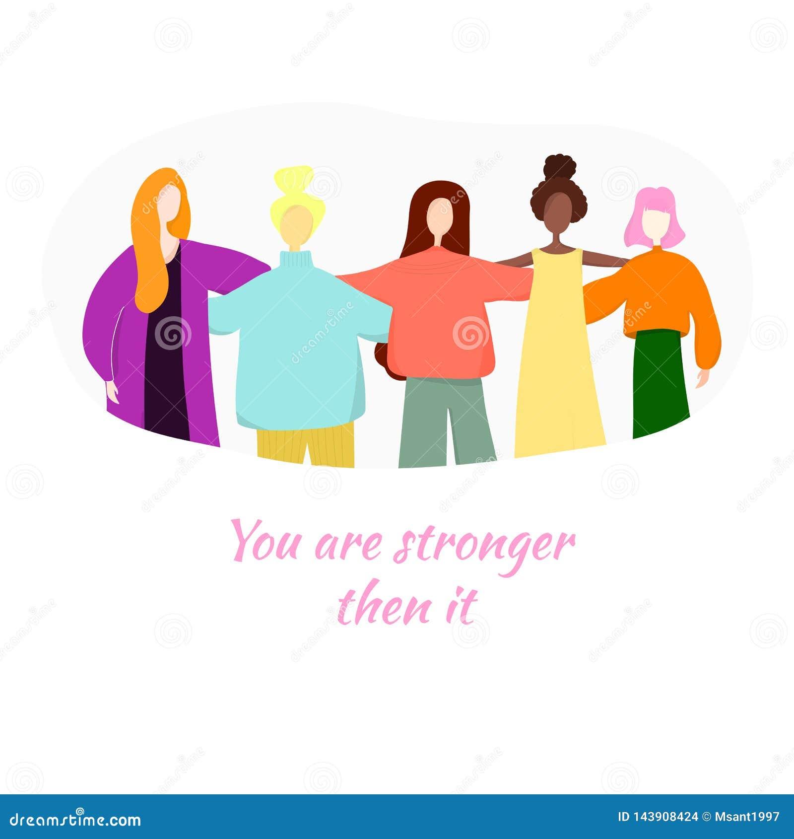 U bent sterker toen het Een groep vrouwen die zich en handen verenigen houden