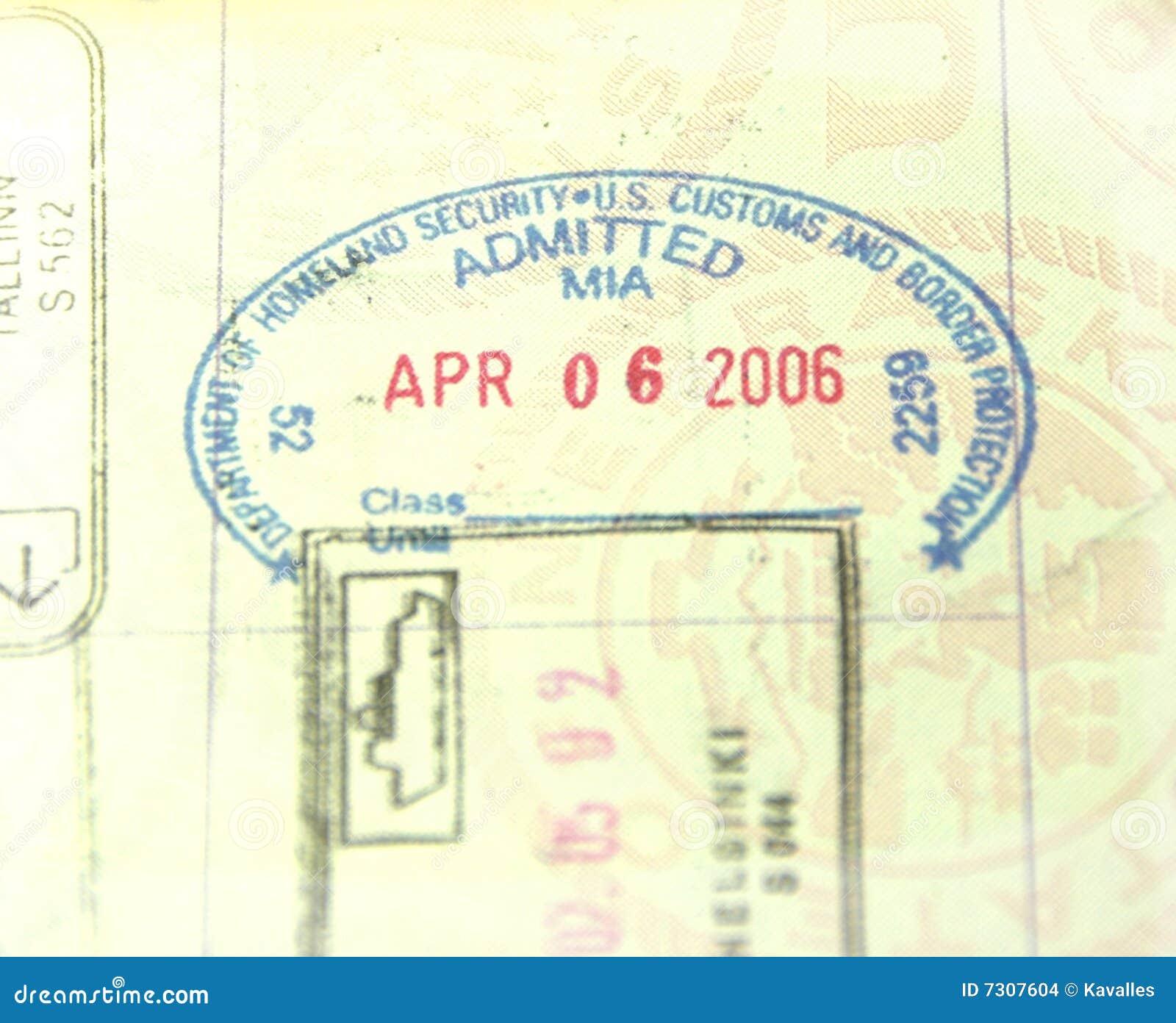 U.S. Abitudini e bollo del passaporto di immigrazione