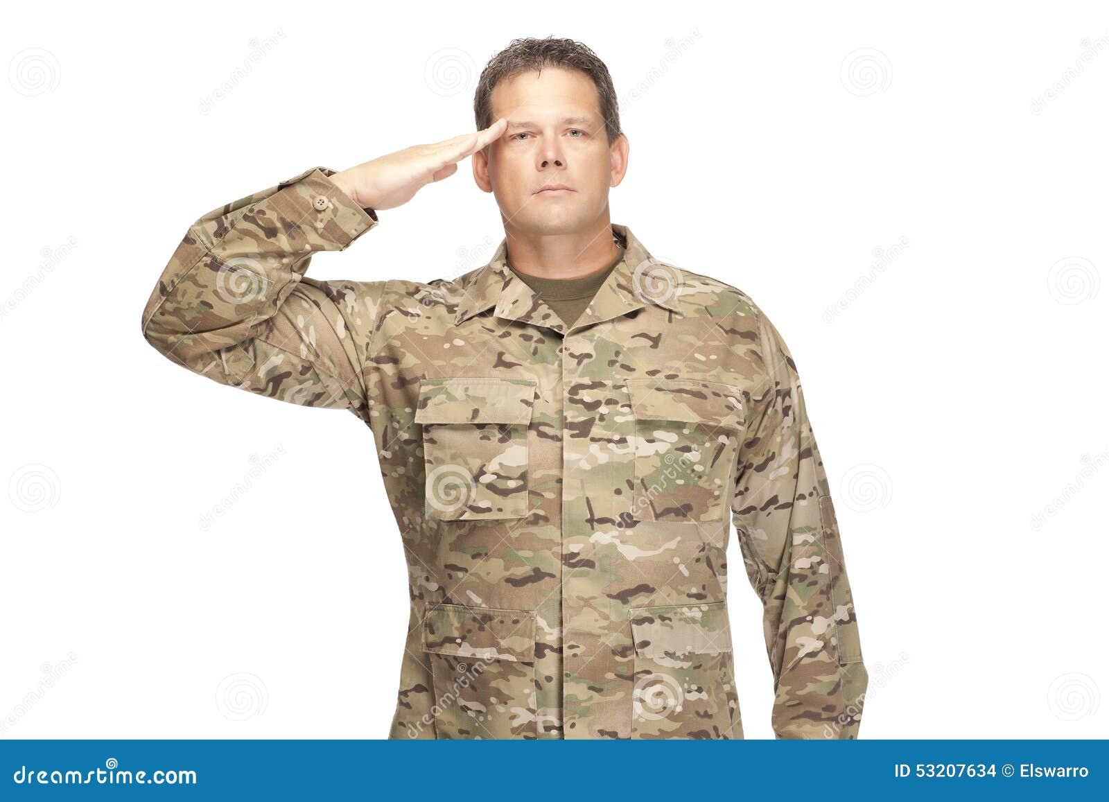 U S Armésoldat, sergeant Isolerat och salutera