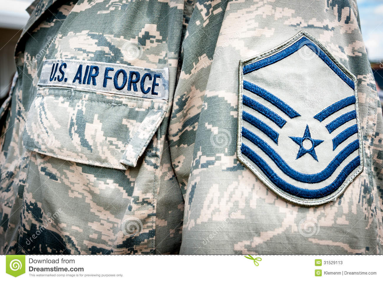 U S Army Air Force Emblem And Rank On Soldier Uniform