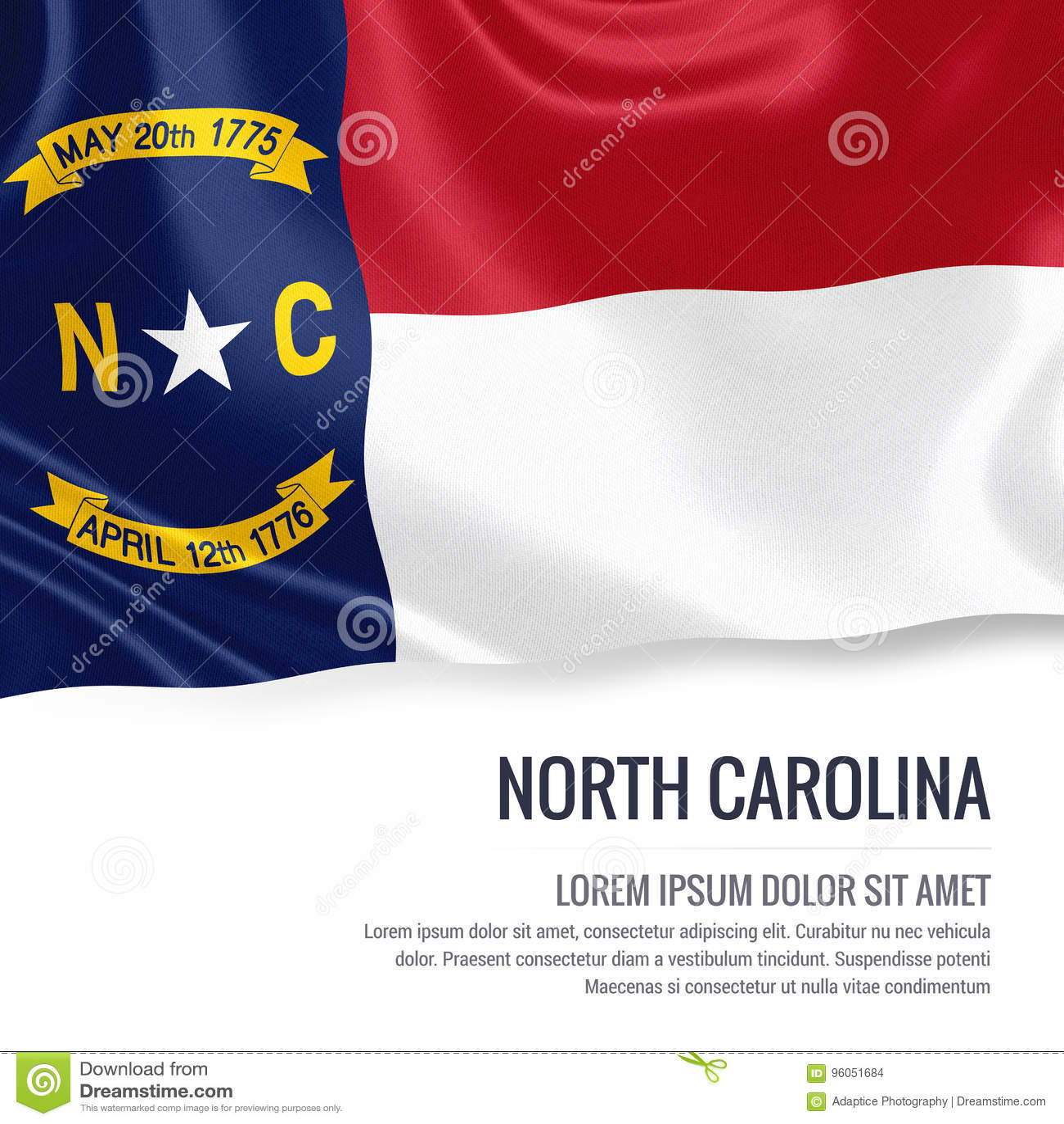 U S bandiera della Nord Carolina dello stato