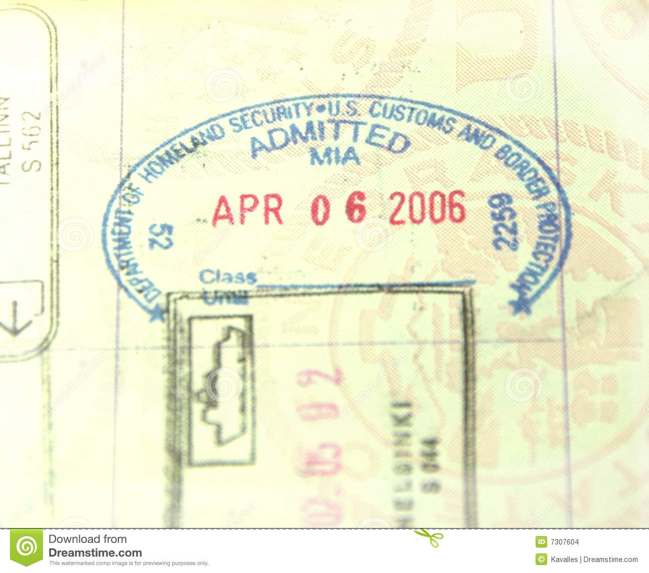 A U S Customs And Immigration Passport Stamp