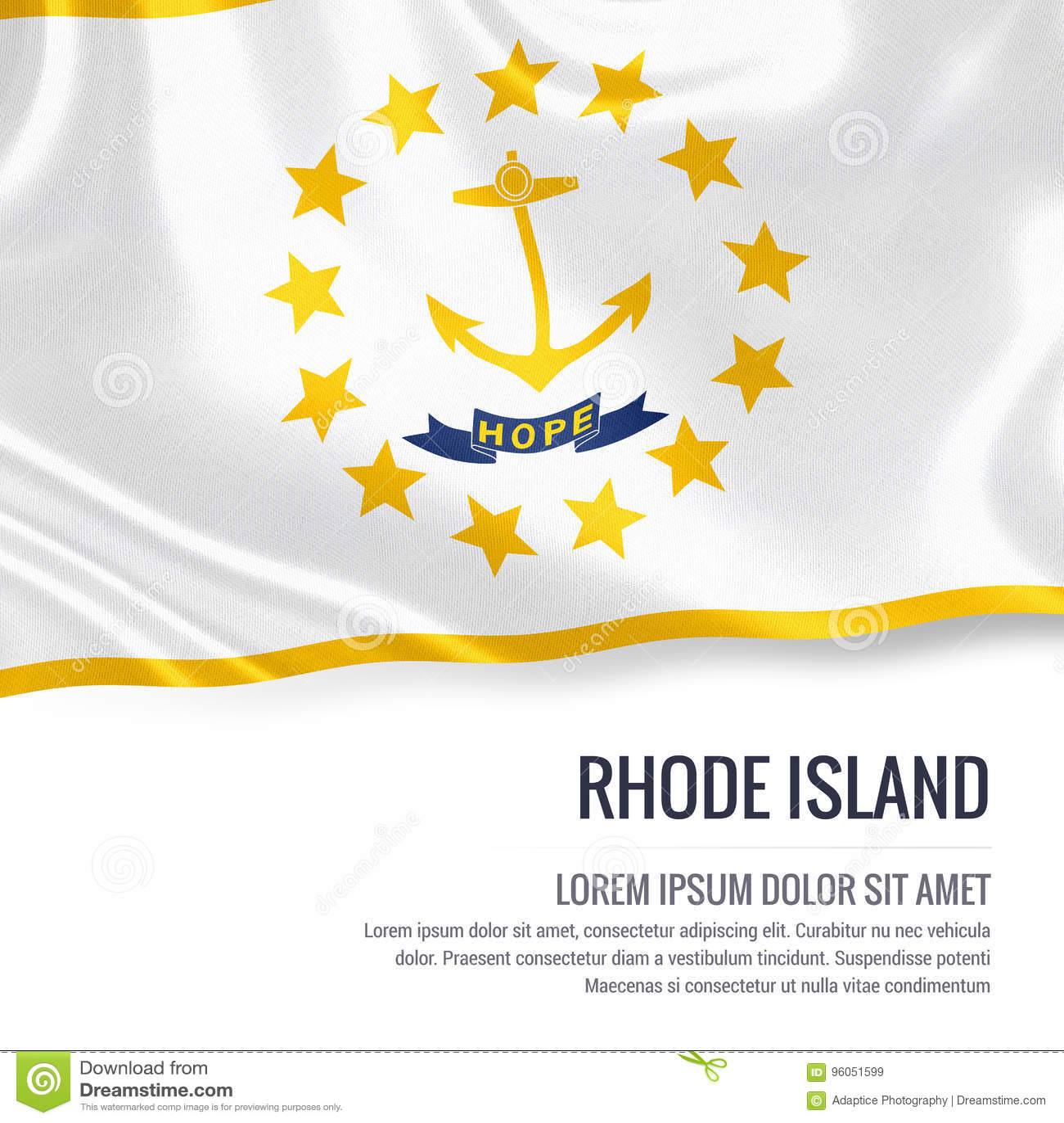 U S drapeau de Rhode Island d état