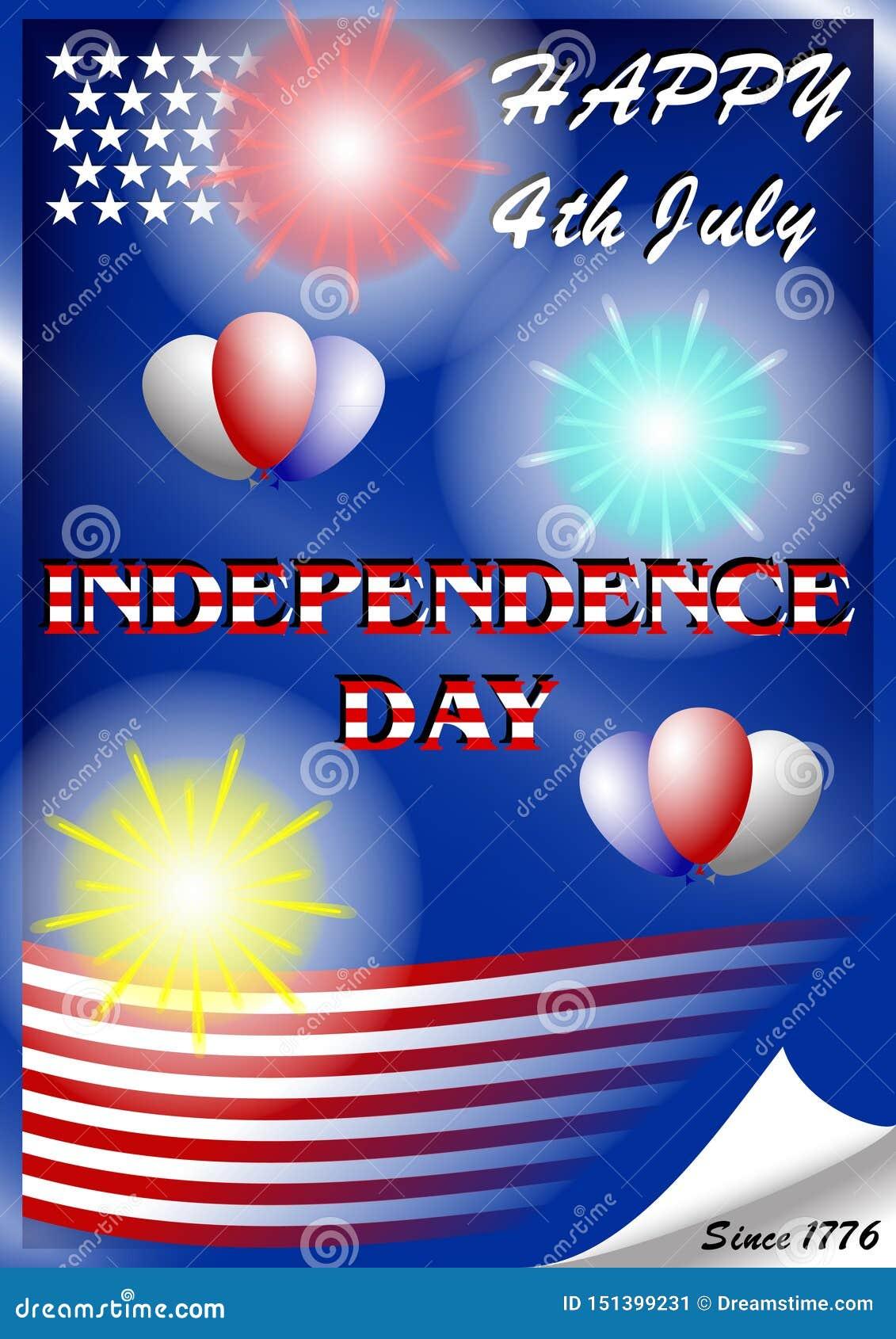 U S dzień niepodległości Lipiec 4 z fajerwerkami i balonami