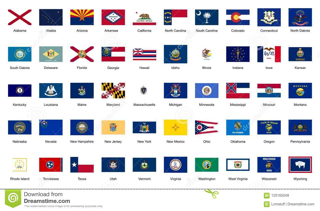 U.S.A. 50 Federal States Official Flags Editorial Stock Image ... on