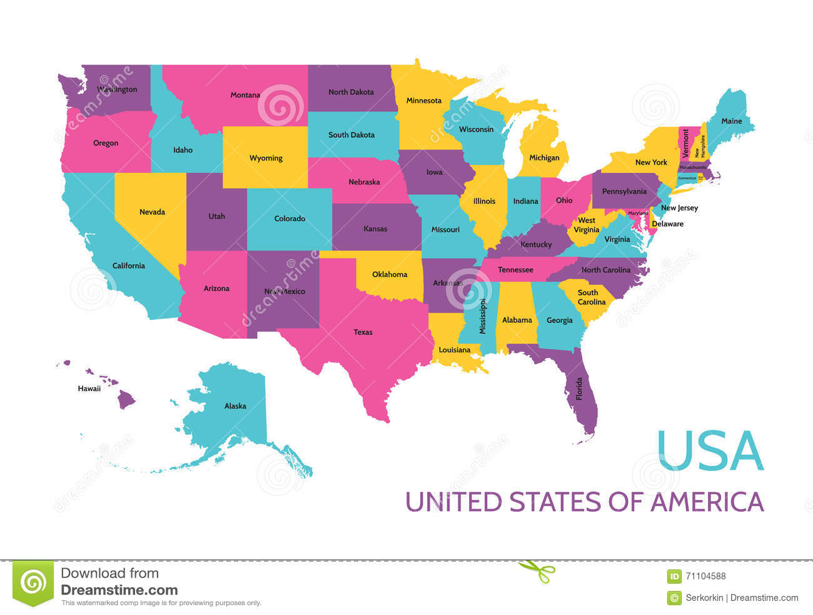 Cartina Geografica Degli Stati Uniti Di America.U S A Gli Stati Uniti D America Mappa Colorata Di Vettore Con La Divisione Negli Stati Illustrazione Vettoriale Illustrazione Di Geografico Alaska 71104588