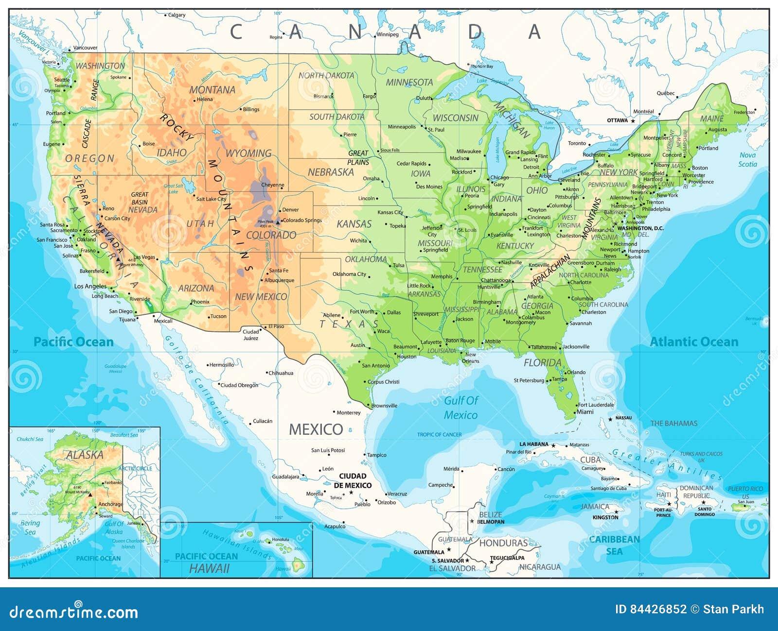 Usa Cartina Geografica Fisica.U S A Ha Dettagliato La Mappa Fisica Illustrazione Vettoriale