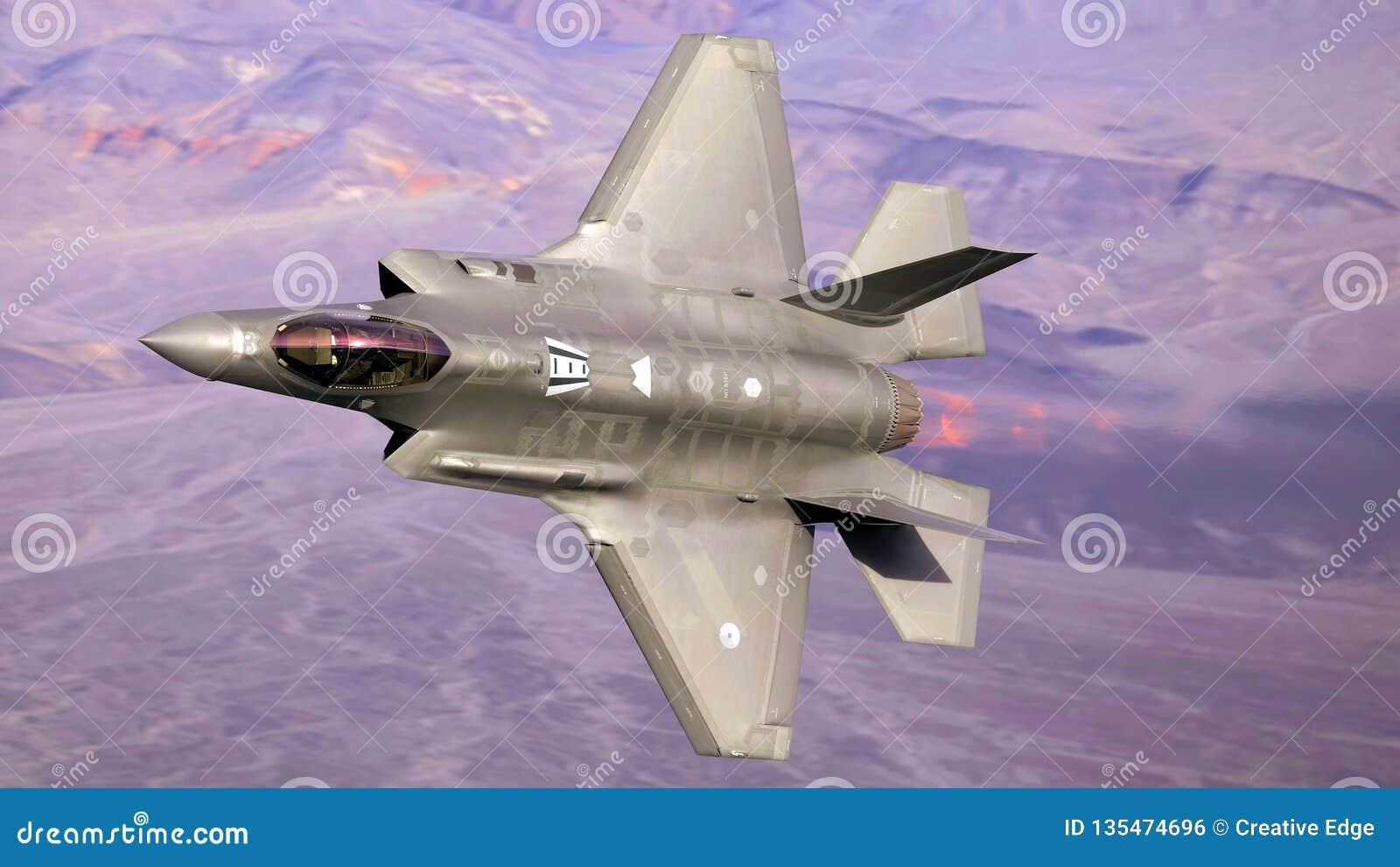 U S Luchtmacht F-35 Joint Strike Fighter (Bliksem II) het straal vliegen