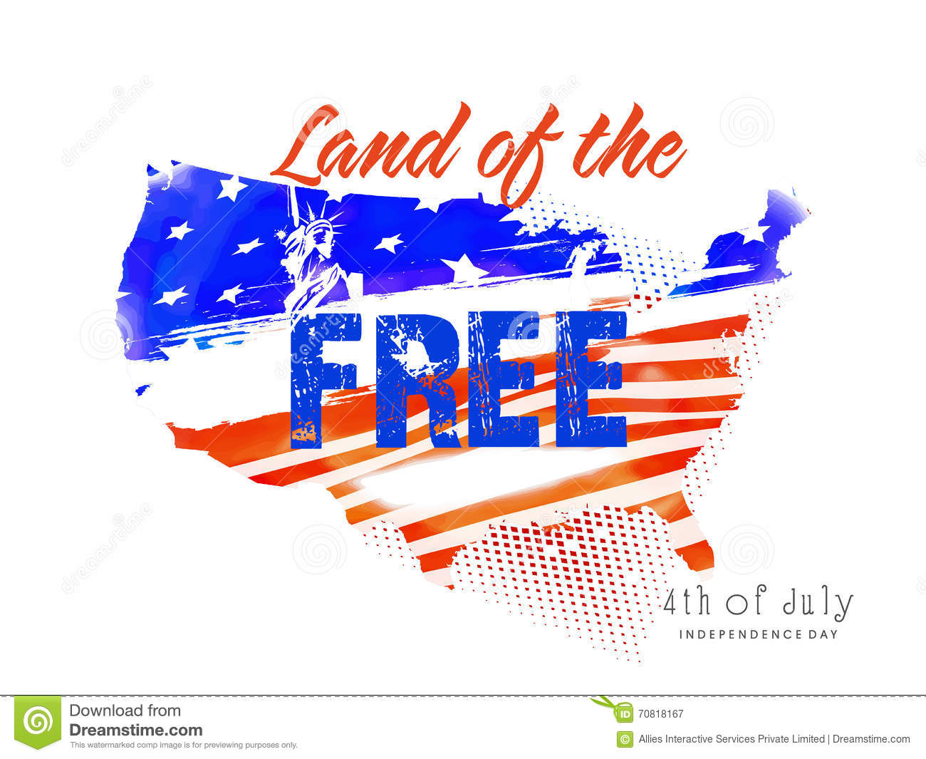 U.S.A Map For 4th Of July Celebration. Stock Illustration ...