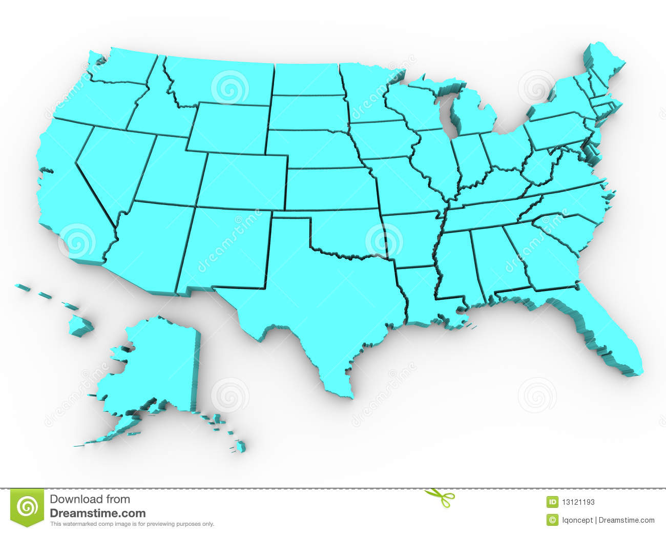 U S A Map United States D Render Stock Photos Image - Us map 3d