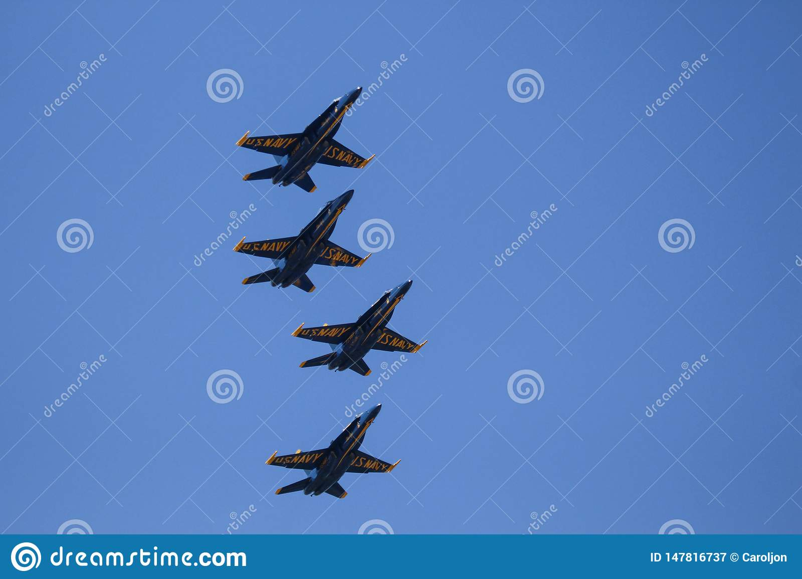 U.S. Navy Blue Angels fly over.