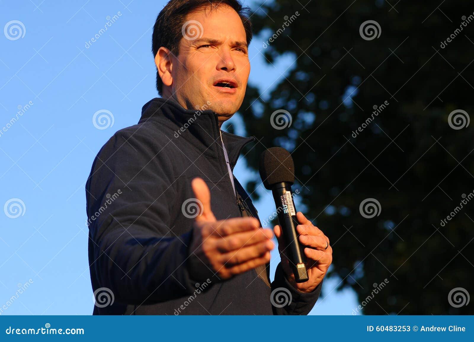 U S Senator Marco Rubio, Republikeins van Florida, spreekt in Bedford, New Hampshire op 6 Oktober, 2015