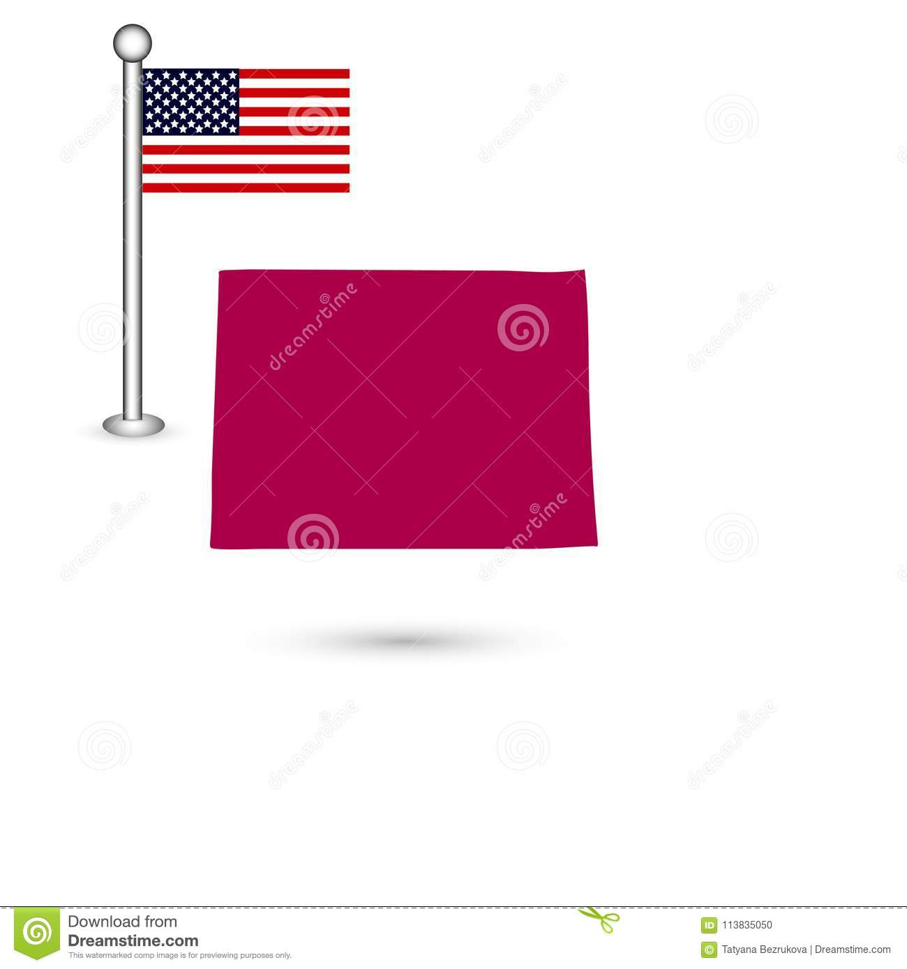 U S State Of Colorado On The Map On A White Background America