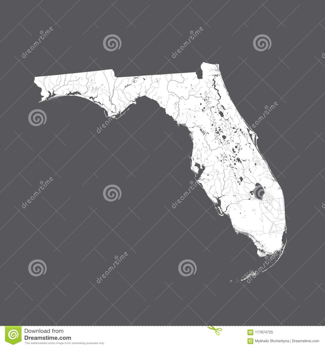 Map Of Florida With Lakes And Rivers Stock Vector Illustration Of