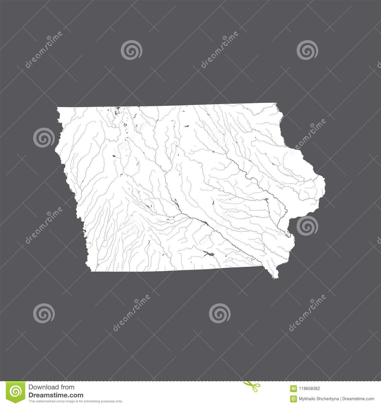 U Of Iowa Map.Map Of Iowa With Lakes And Rivers Stock Vector Illustration Of