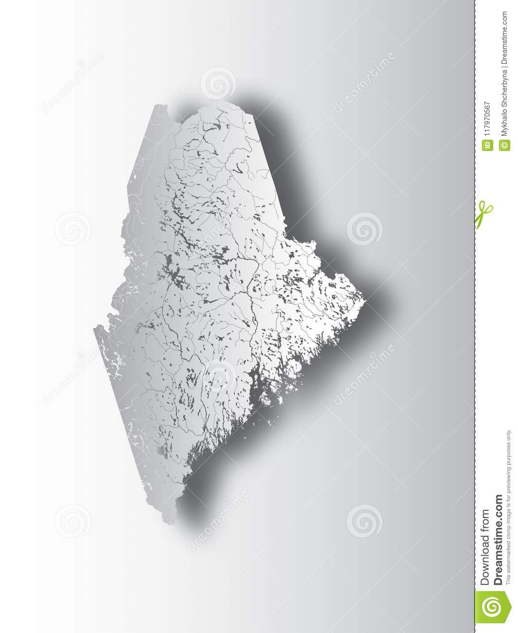 Map Of Maine Lakes.Map Of Maine With Lakes And Rivers Stock Vector Illustration Of