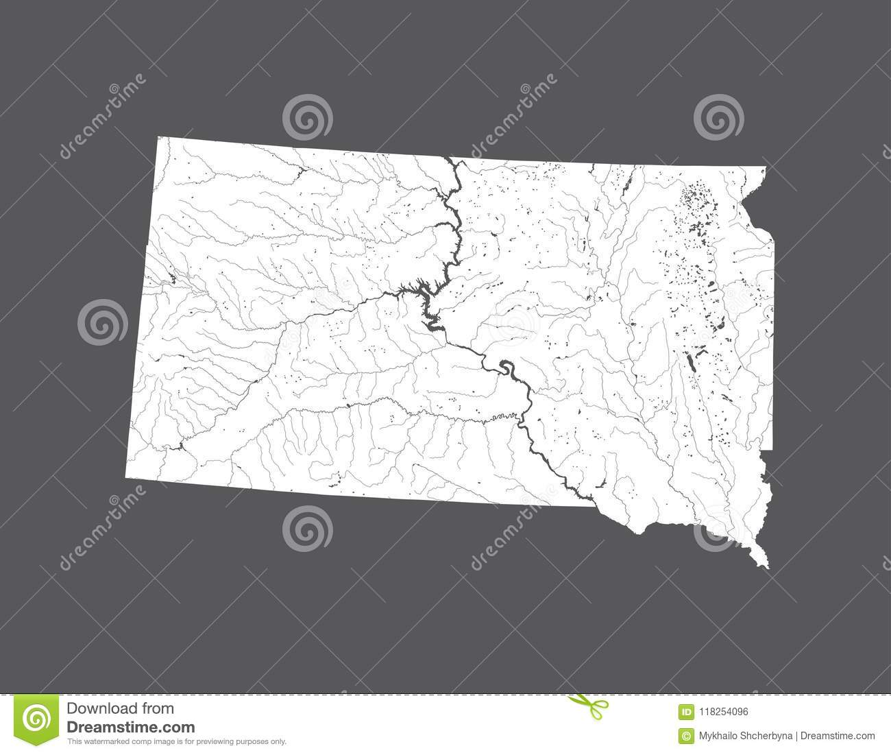 Map Of South Dakota With Lakes And Rivers. Stock Vector ...