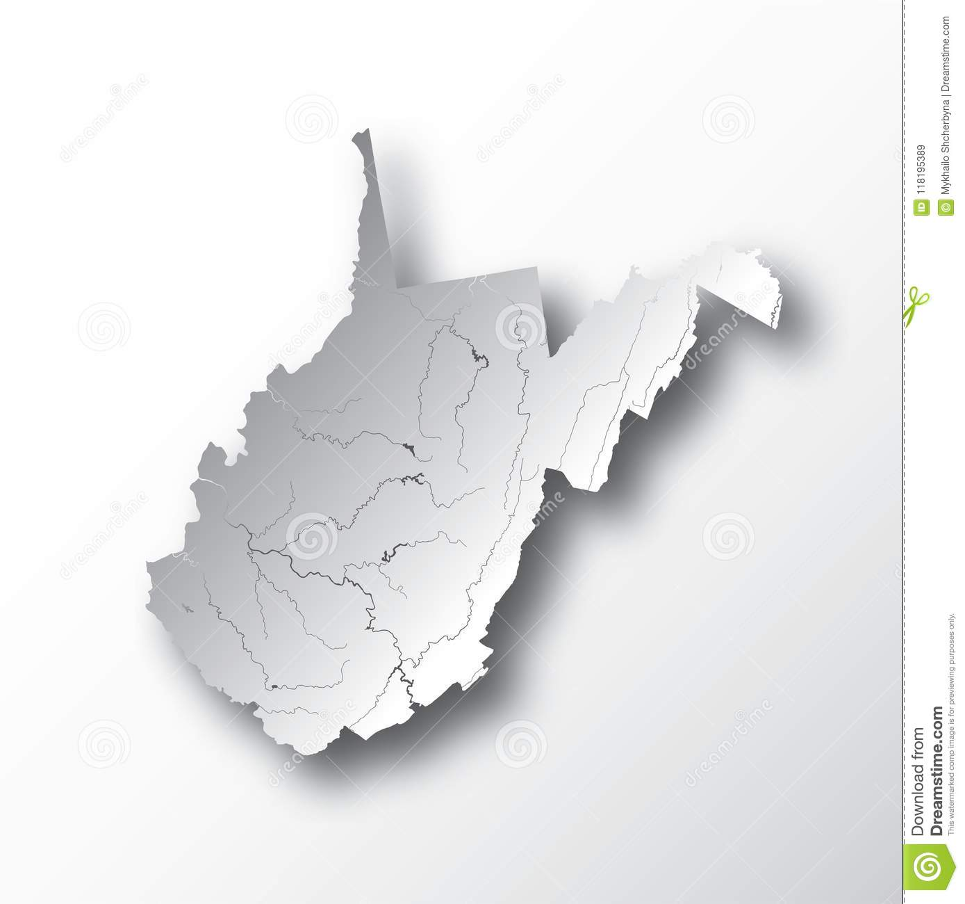 Map Of West Virginia With Lakes And Rivers. Stock Vector ...