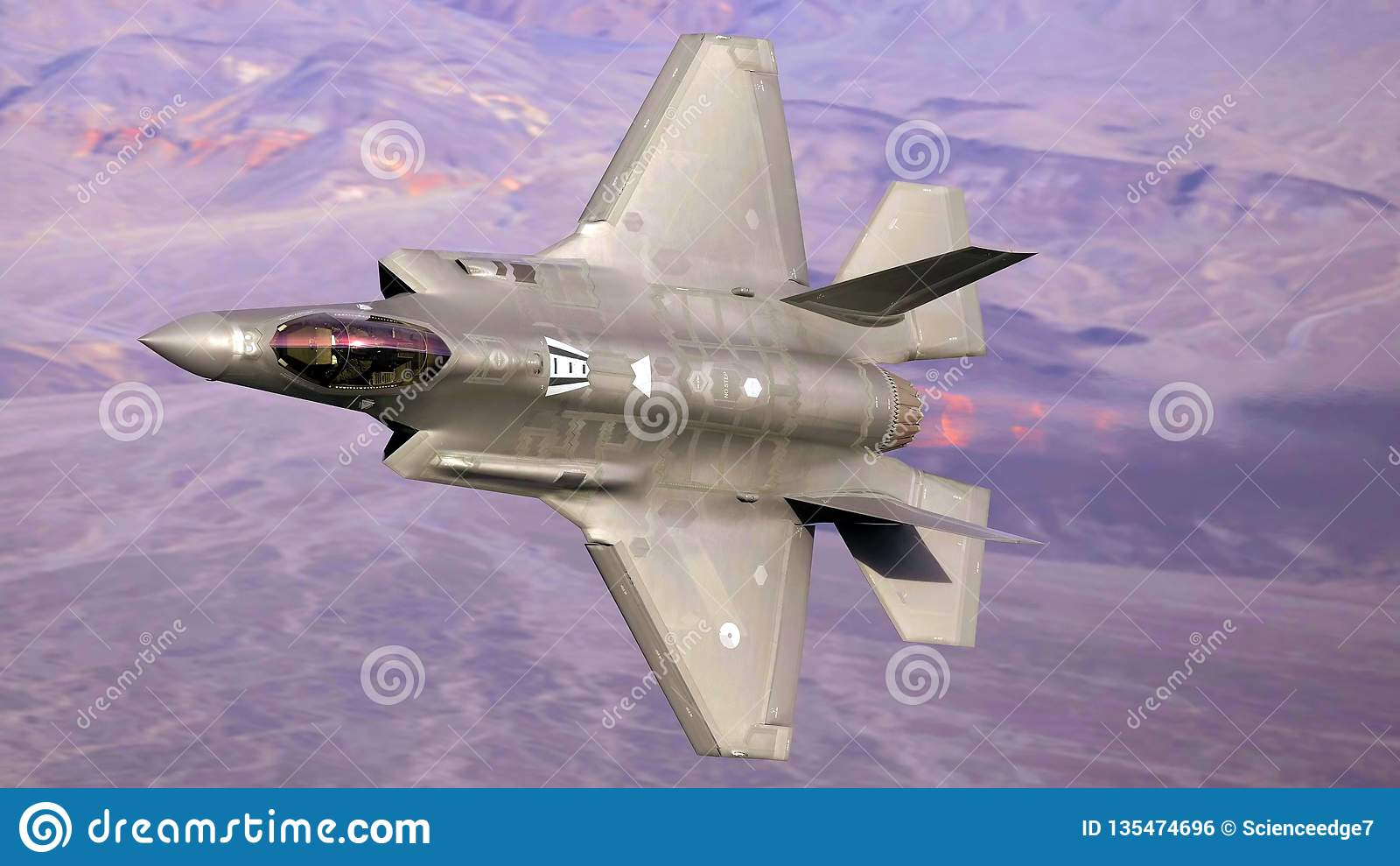 U S Voo do jato do Joint Strike Fighter da força aérea F-35 (relâmpago II)