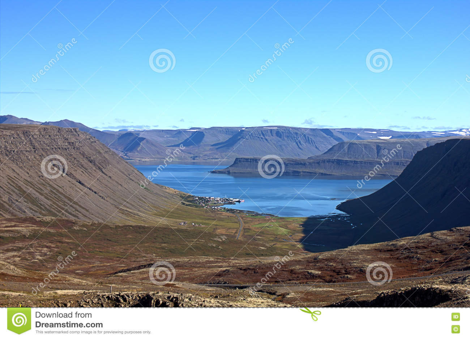 U-Shaped Valley Near Containing Bildudalur, Iceland Stock