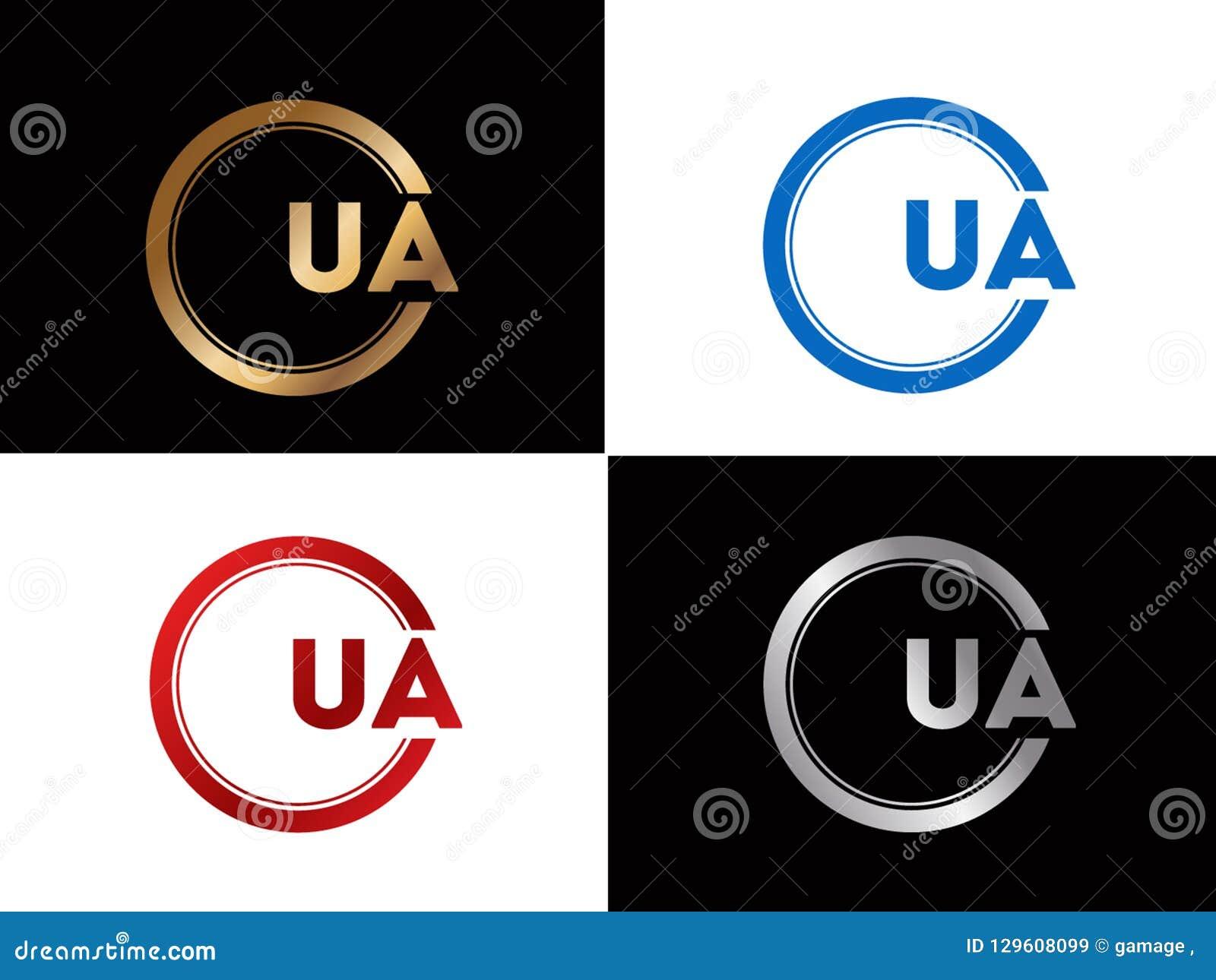 Ua Text Gold Black Silver Modern Creative Alphabet Letter Logo