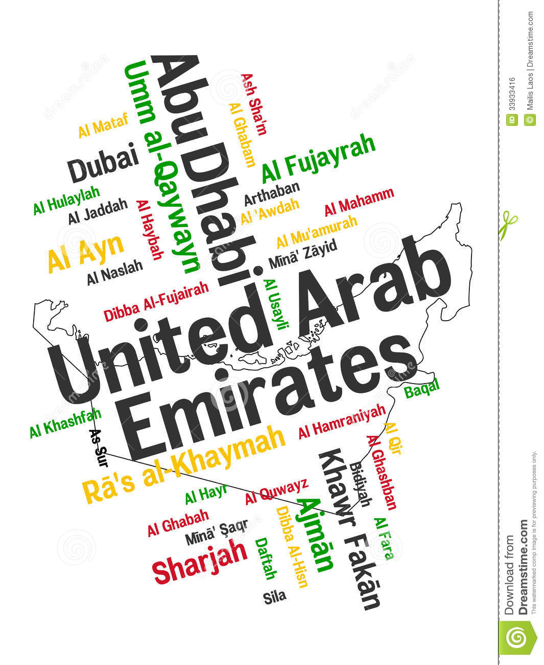 Download UAE map and cities stock vector. Illustration of arabian - 33933416