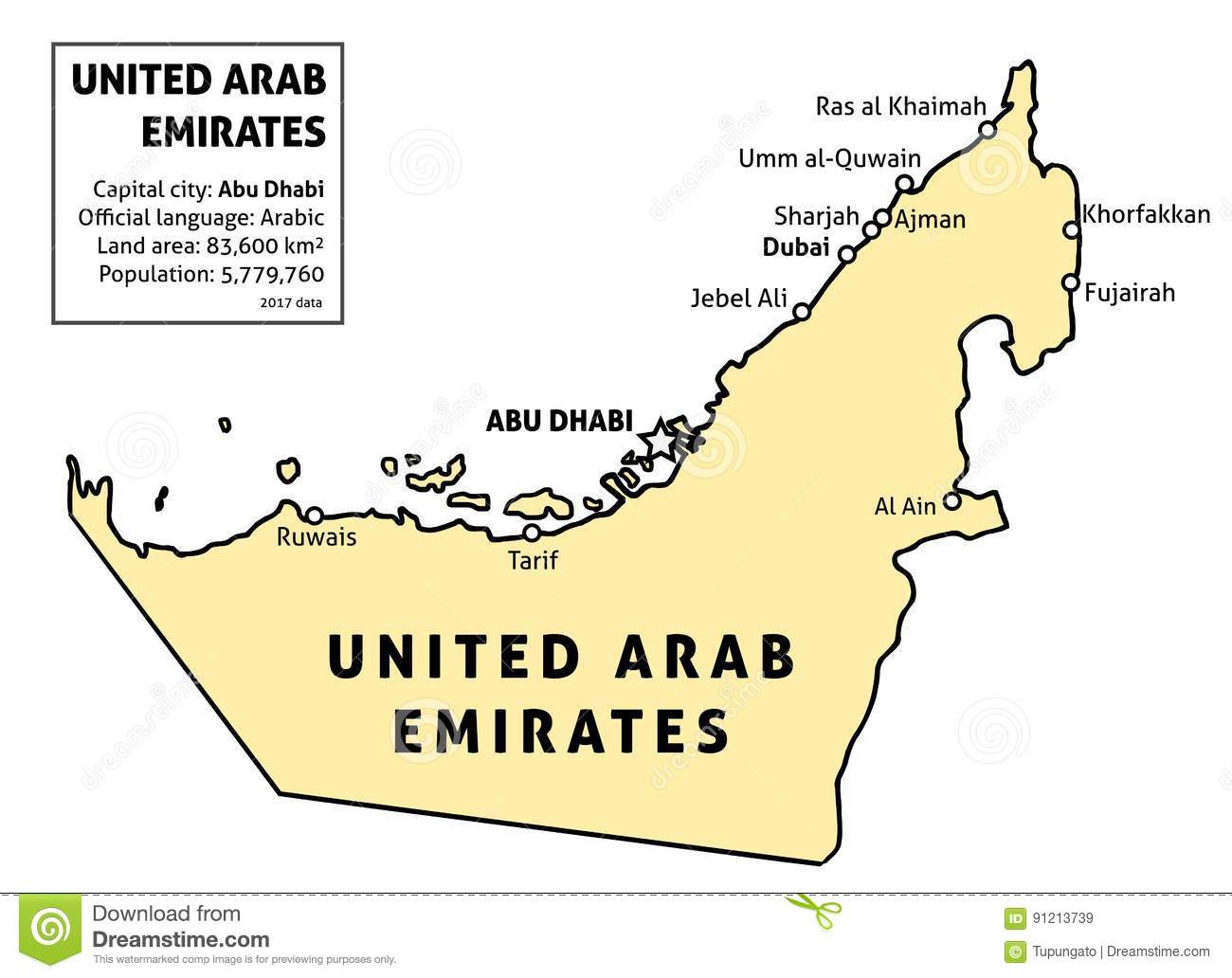 UAE Map Stock Vector Image - United arab emirates map