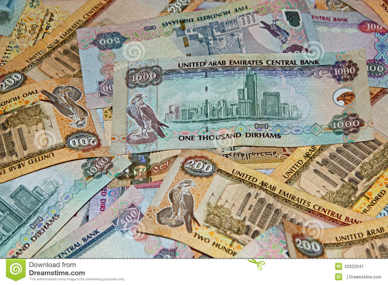 Background UAE currency symbolising wealth, investment, finances ...