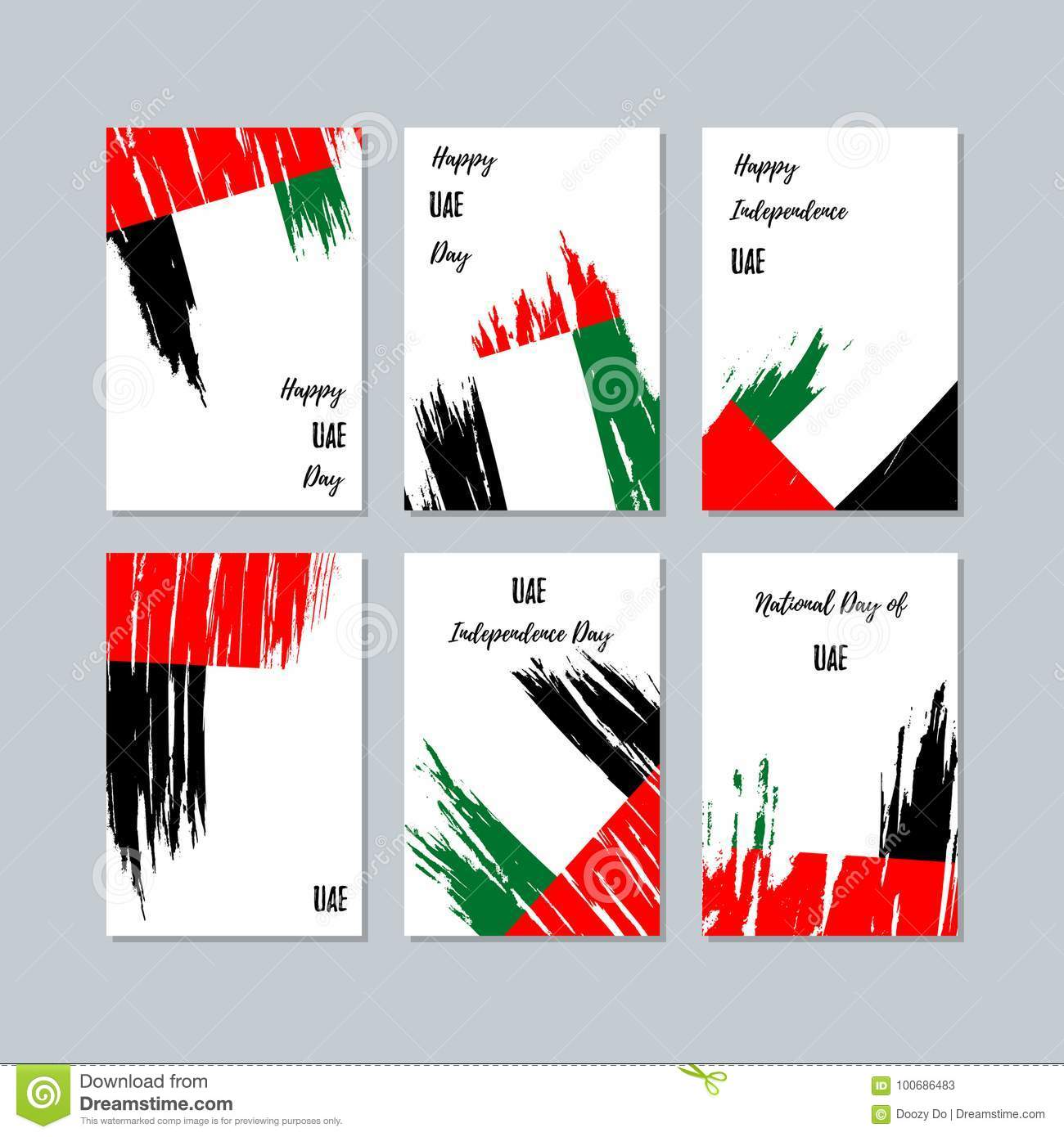 Uae Patriotic Cards For National Day Stock Vector Illustration Of