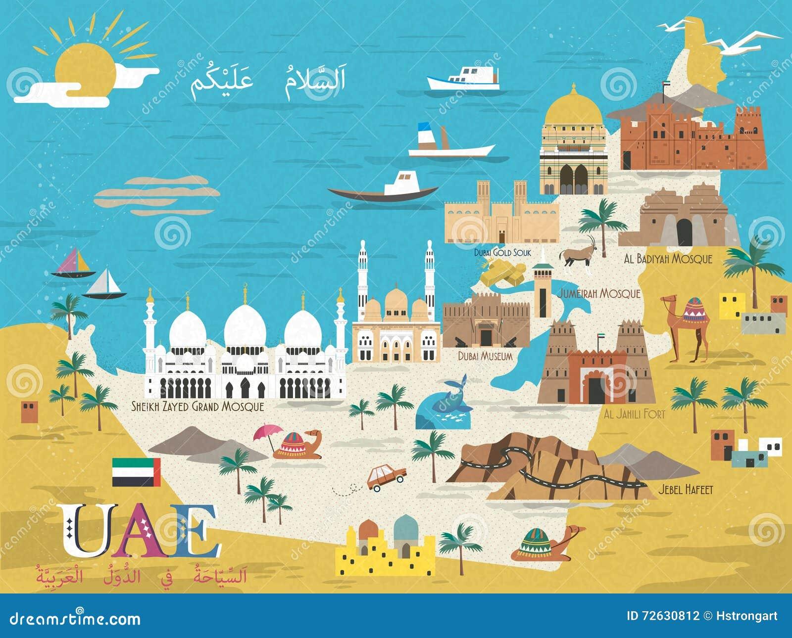 Tourist Areas In Uae Uae travel concept map stock illustration