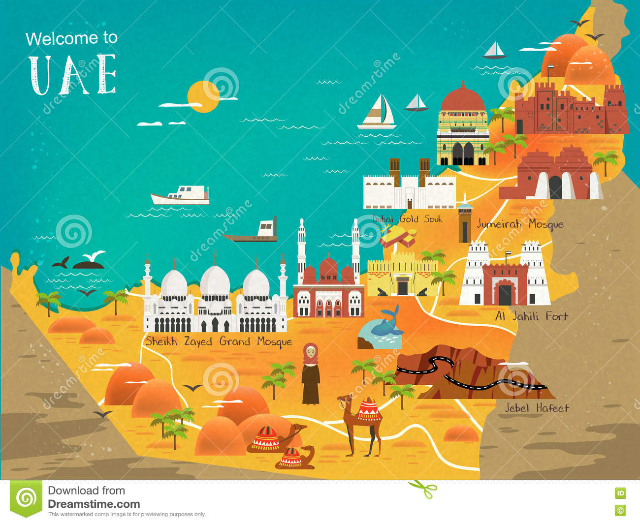UAE travel concept map stock illustration. Illustration of adventure ...