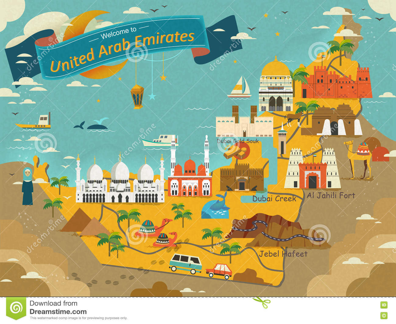 UAE Travel Concept Map Stock Illustration Illustration Of Style - Uae map