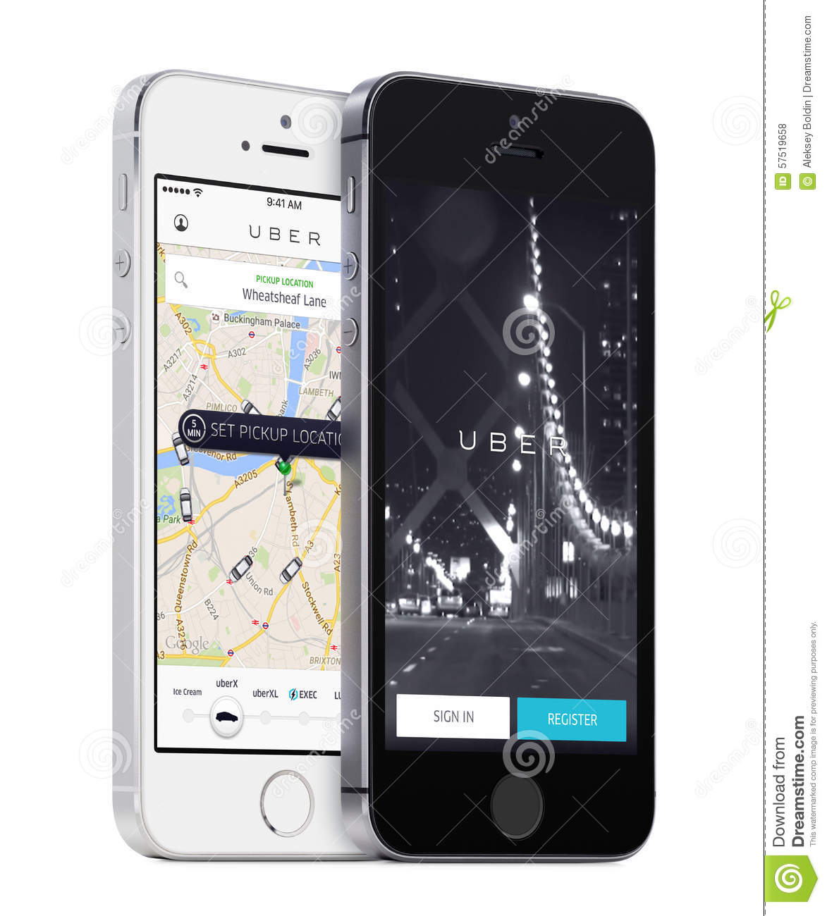 Uber App Startup Page And Uber Search Cars Map On White And Black