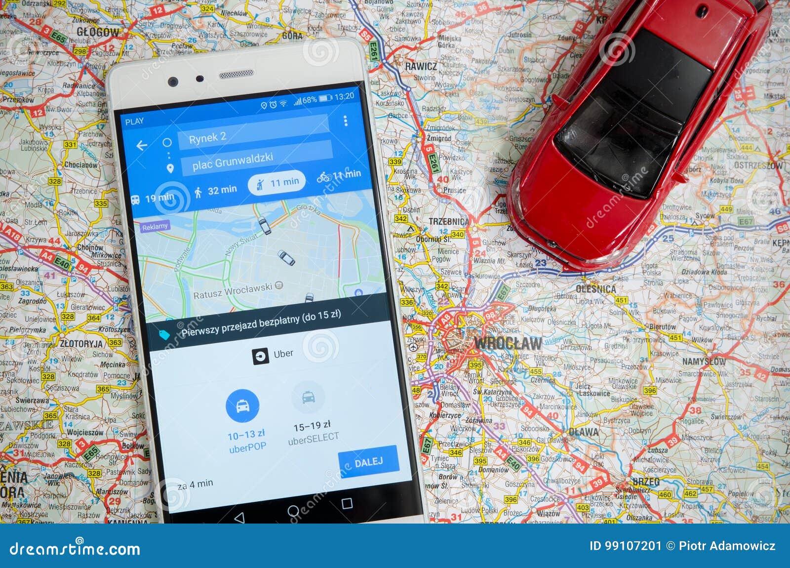 Uber die de economiedienst in Wroclaw delen