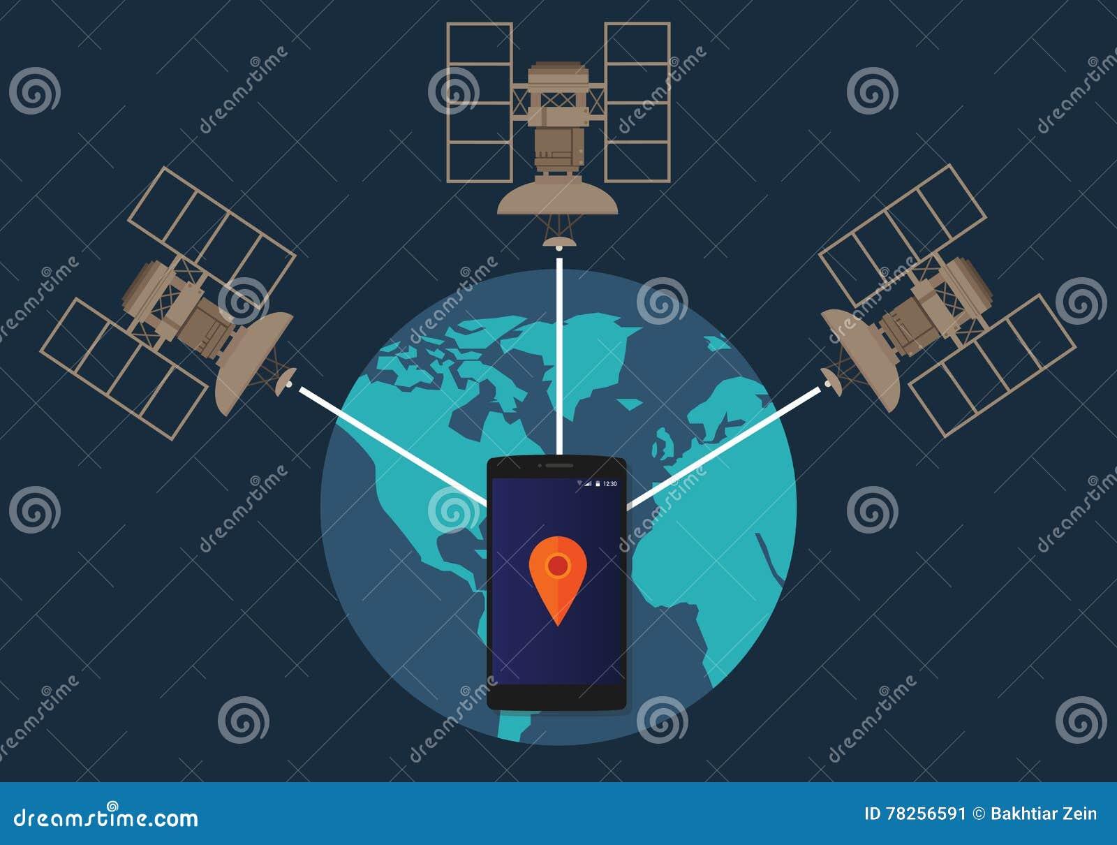 Ubicación por satélite del teléfono del sistema de navegación mundial de GPS que sigue cómo método técnico