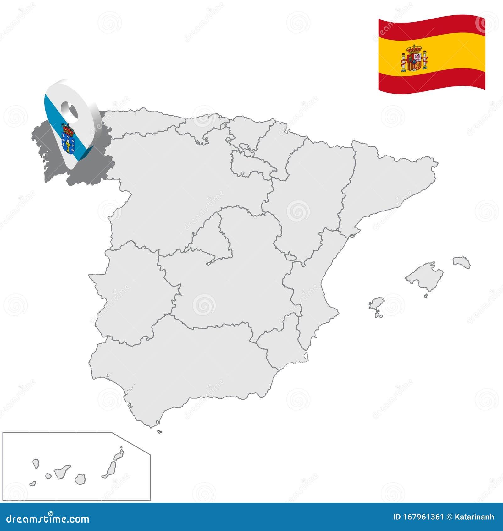 Cartina Spagna Galizia.Ubicazione Della Galizia Sulla Mappa Della Spagna 3d Indicazione Della Localita Della Galizia Simile Alla Bandiera Della Galizia Illustrazione Vettoriale Illustrazione Di Moderno Profilo 167961361