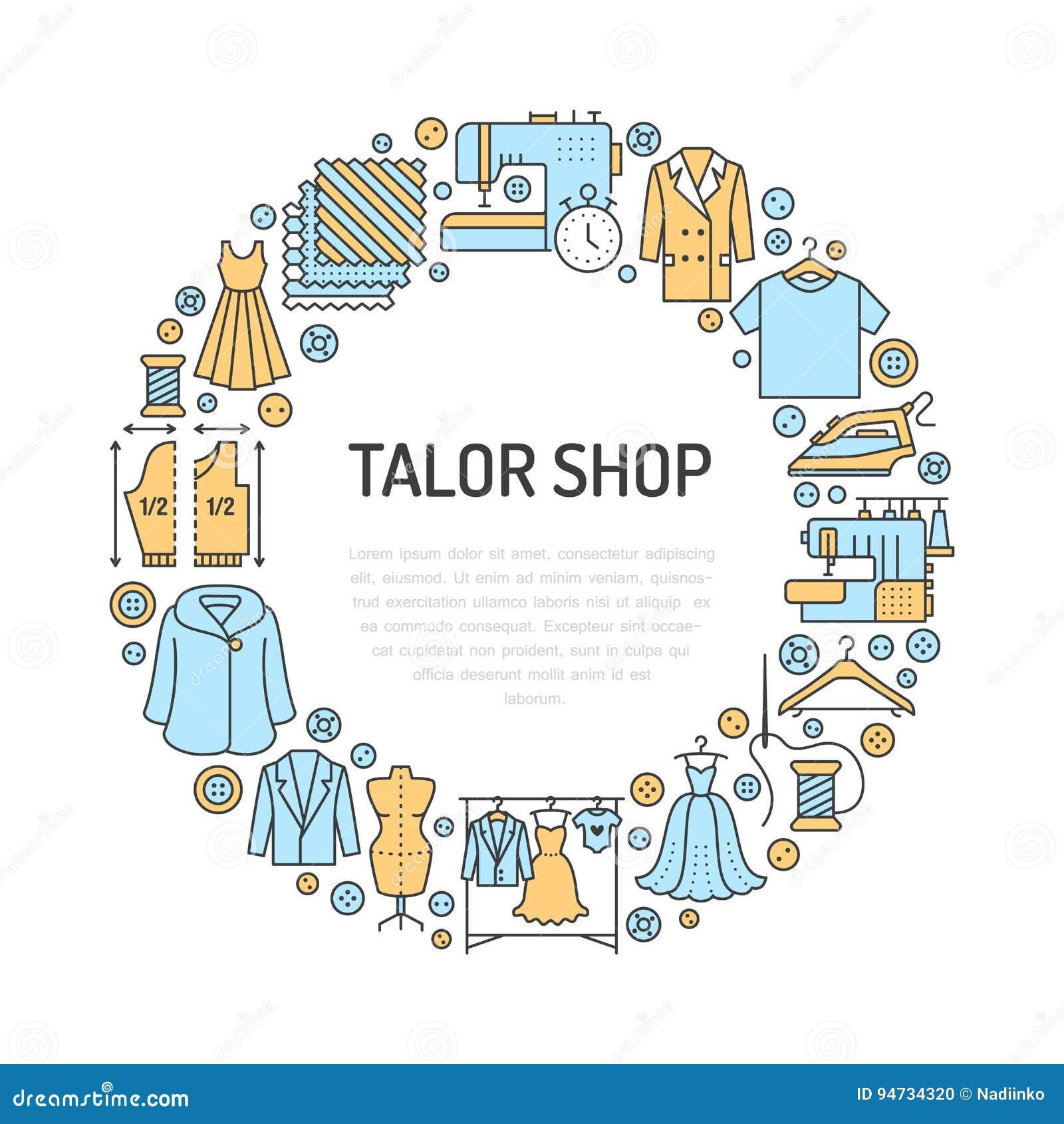 Ubraniowa naprawa, alteraci wyposażenia sztandaru pracowniana ilustracja Wektor kreskowa ikona krawieckie sklep usługa -
