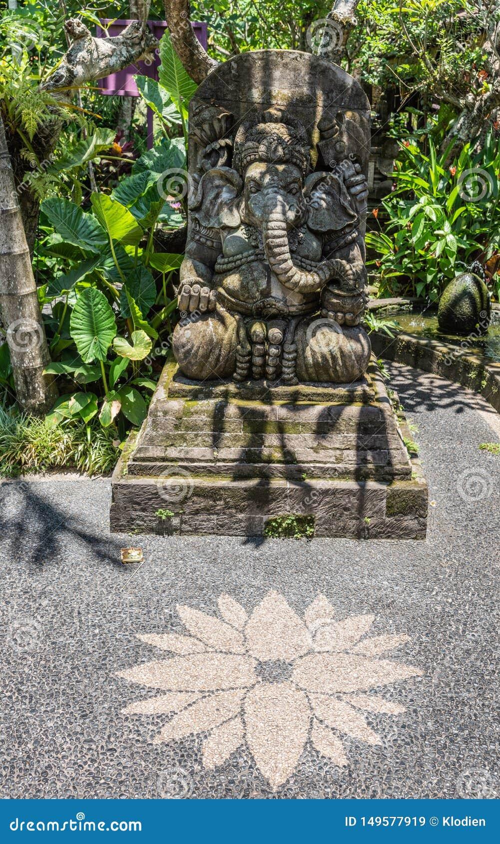 Ganesha Statue At Dirty Duck Restaurant Downtown, Ubud, Bali