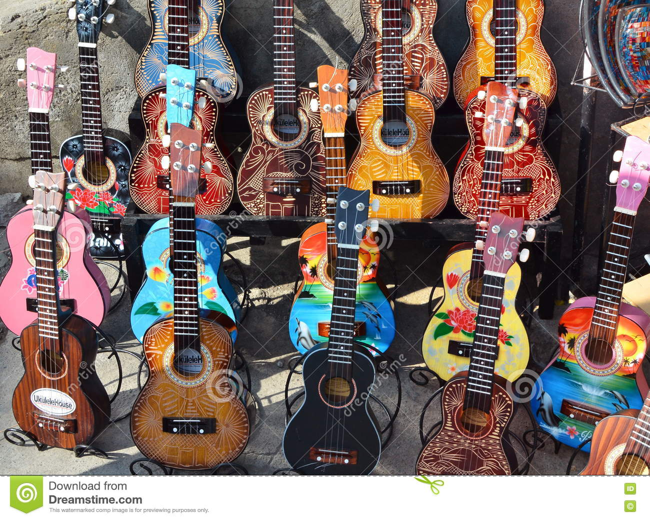 Ubud Bali May 17 2016 Wooden Guitars Typical Souvenirs And