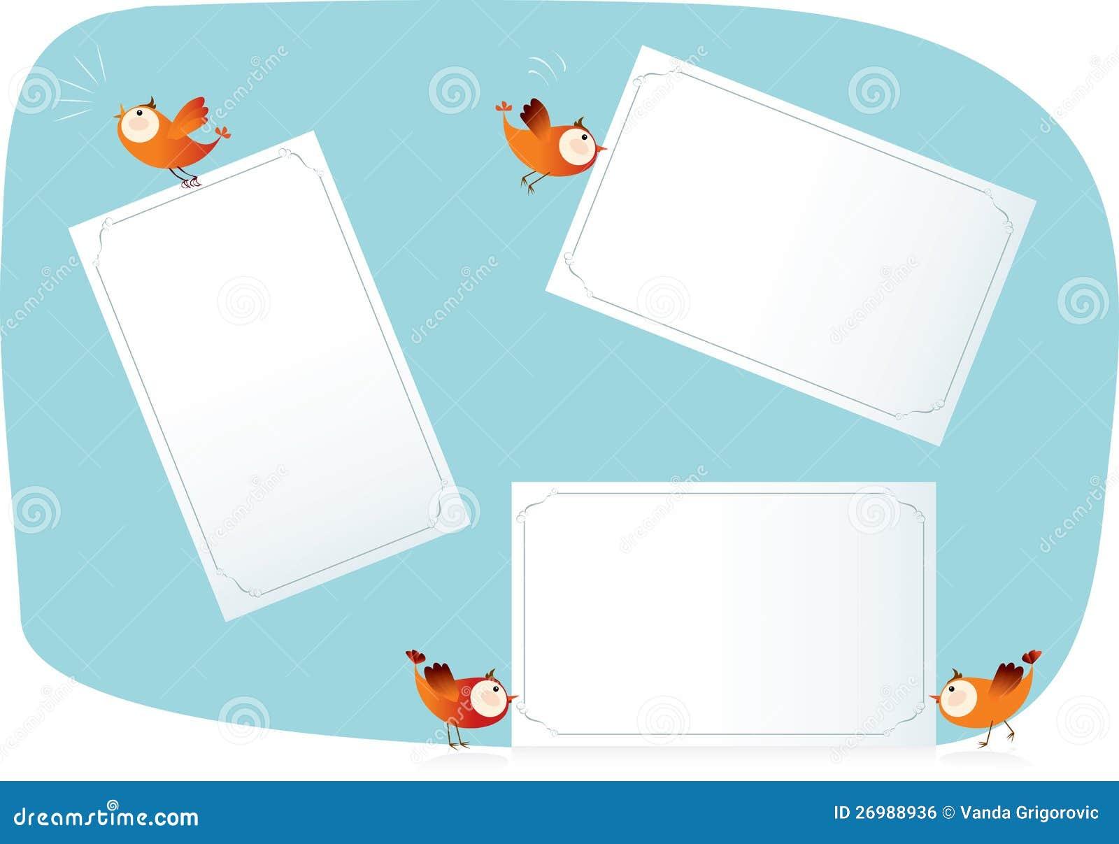 Uccelli che tengono le liste di carta