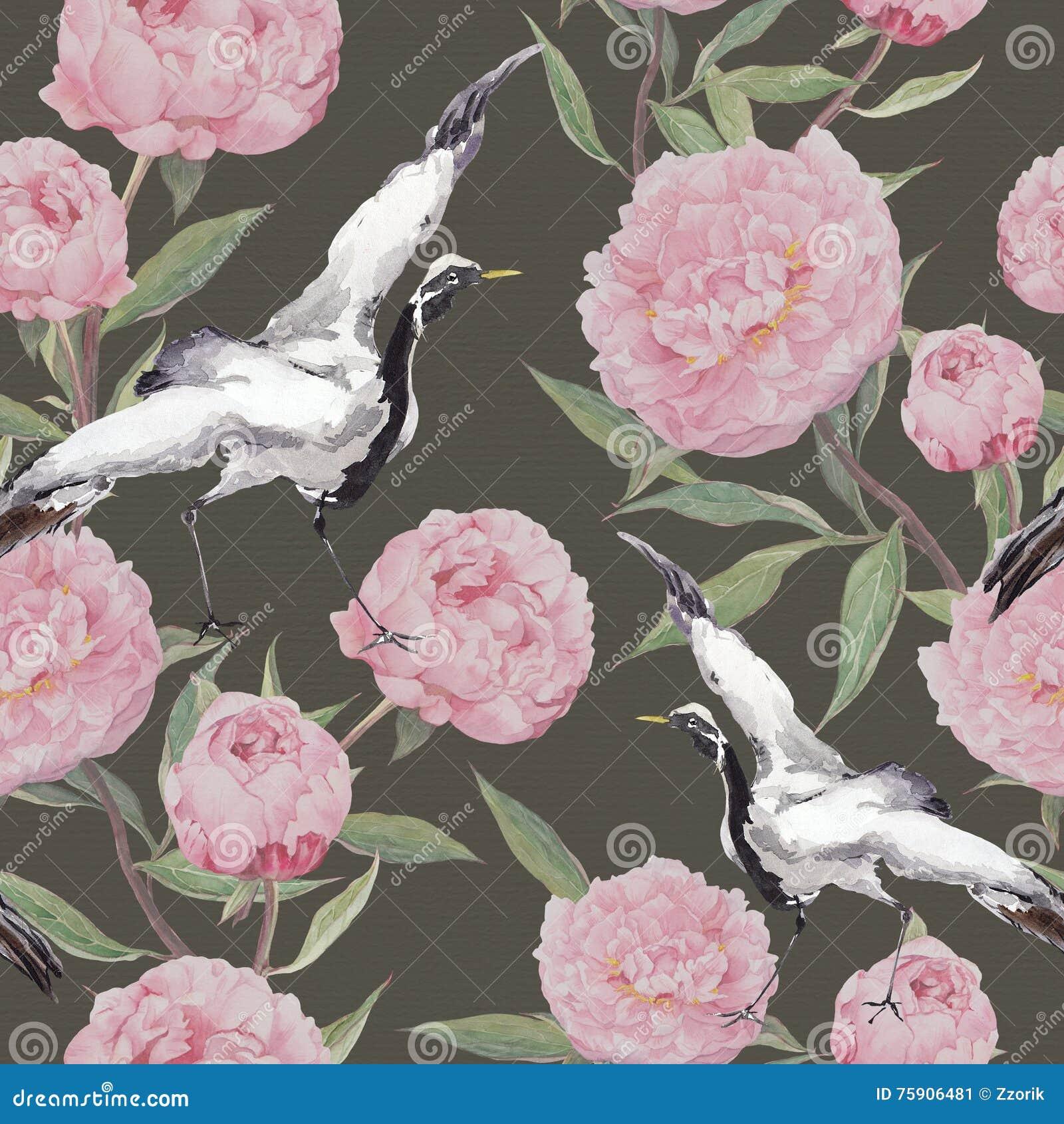 Uccelli della gru, fiori della peonia Priorità bassa di ripetizione floreale watercolor