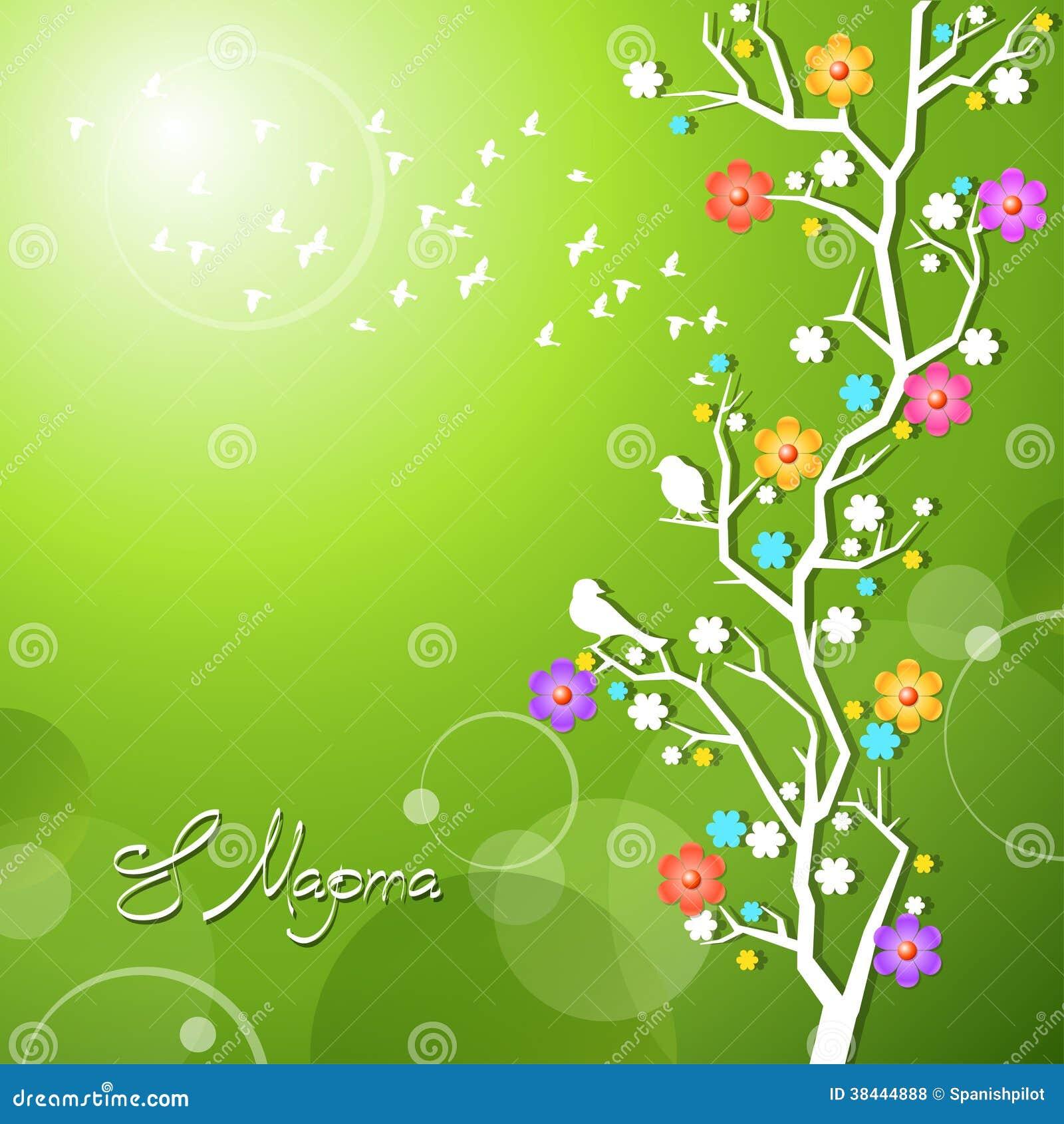 Uccelli della primavera che cantano su un ramo di - Primavera uccelli primavera colorazione pagine ...