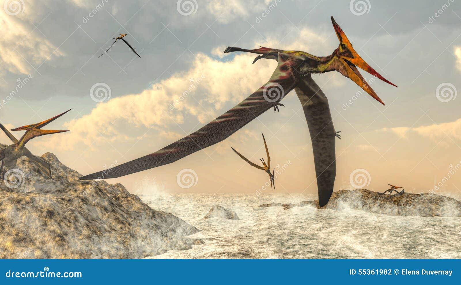 Uccelli di Pteranodon che volano - 3D rendono